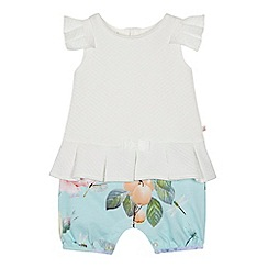 Baker by Ted Baker - Baby girls' white and aqua floral print mock romper suit