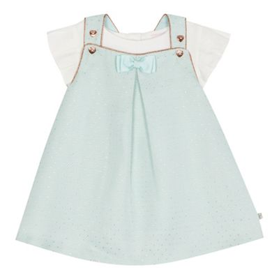 Baker By Ted Baker   Baby Girls' Green Textured Spotted Pinafore And White Short Sleeve Top Set by Baker By Ted Baker