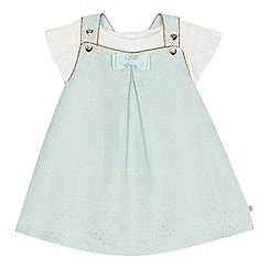 Baker by Ted Baker - Baby girls' green textured spotted pinafore and white short sleeve top set