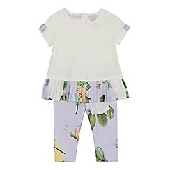 Baker by Ted Baker - 'Baby girls' off-white pleated hem short sleeve top and lilac floral print leggings set