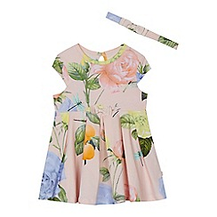 Baker by Ted Baker - 'Baby girls' light pink rose print jersey dress