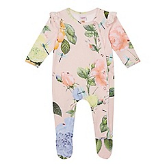 Baker by Ted Baker - 'Baby girls' light pink floral print long sleeve sleepsuit
