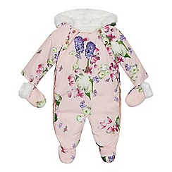 Baker by Ted Baker - Baby girls' pink floral print shower resistant snowsuit
