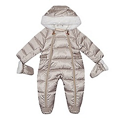 Baker by Ted Baker - Baby girls' silver padded shower resistant snowsuit