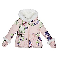 Baker by Ted Baker - Baby girls' light pink floral print shower resistant coat