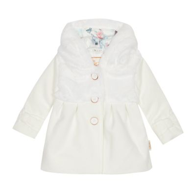Baker By Ted Baker   Baby Girls' Off White Faux Fur Coat by Baker By Ted Baker