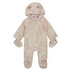Baker by Ted Baker - Baby girls' natural faux fur snowsuit