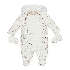 Baker by Ted Baker - Baby girls' off white splatter print shower resistant snowsuit