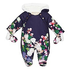 Baker by Ted Baker - Baby girls' navy floral print shower resistant snowsuit