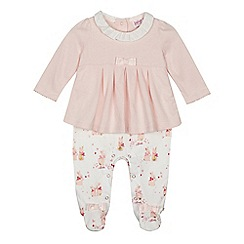 Baker by Ted Baker - Baby girls' pink bunny print mock rompersuit