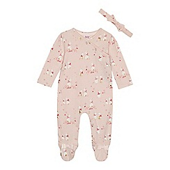 Baker by Ted Baker - Baby girls' pink bunny print sleepsuit and headband set
