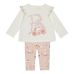 Baker by Ted Baker - Baby girls' light pink floral logo print top and leggings set