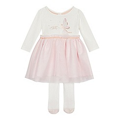 248b364a86baa5 Baker by Ted Baker - Baby girls  off white fairy print mock dress with  tights