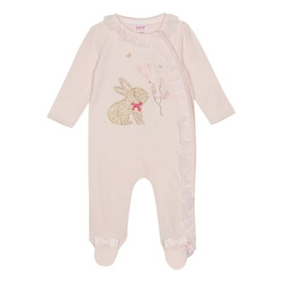 c61ae78f7ea3 Baker by Ted Baker Baby girls  light pink bunny print sleepsuit ...