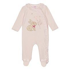 Baker by Ted Baker - Baby girls' light pink bunny print sleepsuit