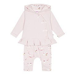 Baker by Ted Baker - Baby girls' light pink bunny jacket, bodysuit and bottoms set