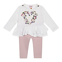Baker by Ted Baker - Baby girls' white floral print top and pink quilted leggings set