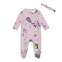 Baker by Ted Baker - Baby girls' light pink floral sleepsuit and headband