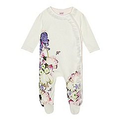 Baker by Ted Baker - Baby girls' off white floral print sleepsuit