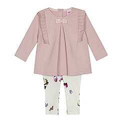 Baker by Ted Baker - Baby girls' light pink floral print top and leggings set