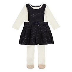 Baker by Ted Baker - 'Baby girls' navy textured pinny, top and tights set