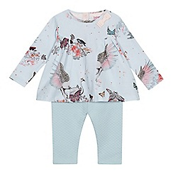 Baker by Ted Baker - Baby girls' light blue swan print swing top and quilted leggings set
