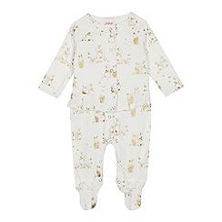 Baker by Ted Baker - Baby girls' off white velvet bunny print sleepsuit set