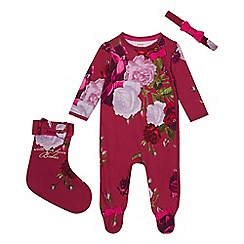 Baker by Ted Baker - Baby girls' dark pink sleepsuit, headband and stocking set