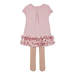 Baker by Ted Baker - Baby girls' dark pink tunic dress and glitter tights set