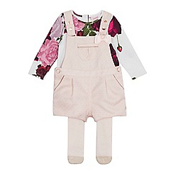 Baker by Ted Baker - Baby Girls' Light Pink Cord Dungarees, Top and Tights Set