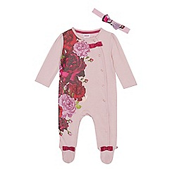 Baker by Ted Baker - Baby girls' pink floral sleepsuit and headband