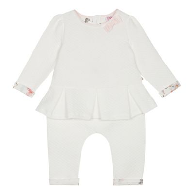 Baker By Ted Baker   Baby Girls' Off White Quilted Top And Trousers Set by Baker By Ted Baker