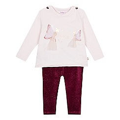 Baker by Ted Baker - Babies' light pink fairy applique top and bottoms set