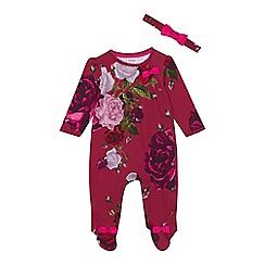 Baker by Ted Baker - Baby girls' dark pink floral sleepsuit and headband