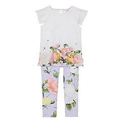 Baker by Ted Baker - 'Girls' white floral print short sleeve top and lilac leggings set