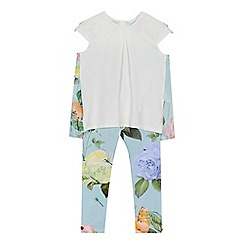 Baker by Ted Baker - Girls' pale green floral print top and leggings set
