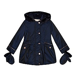Baker by Ted Baker - Girls' navy shower resistant parka and mittens