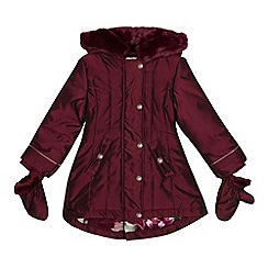 Baker by Ted Baker - Girls' wine red shower resistant parka and mittens