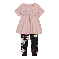 Baker by Ted Baker - 'Girls' pink frill top and leggings set