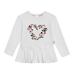 Baker by Ted Baker - 'Girls' white floral heart logo print pleated hem top