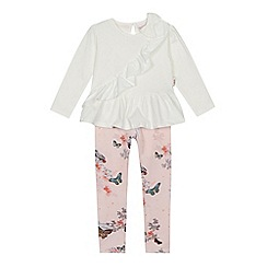 Baker by Ted Baker - Girls' white frill trim top and pink printed leggings set