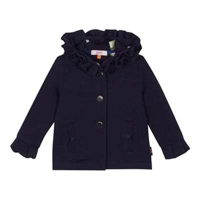 Baker By Ted Baker   Girls' Navy Frilled Hood Coat by Baker By Ted Baker