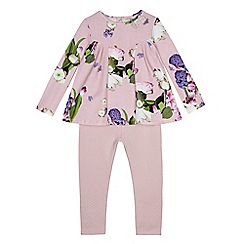 Baker by Ted Baker - Girls' light pink floral print top and leggings set