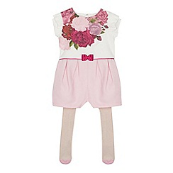 Baker by Ted Baker - Girls' white rose print playsuit and tights set
