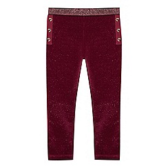 Baker by Ted Baker - Girls' wine red glitter velvet leggings