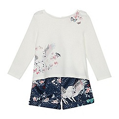 Baker by Ted Baker - Girls' off white unicorn print top and shorts set