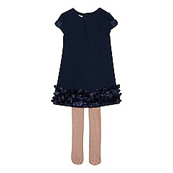Baker by Ted Baker - Girls' navy tunic dress and glitter tights set