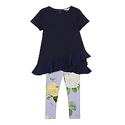Baker by Ted Baker - Girls' navy frilled hem top and lilac floral print leggings set