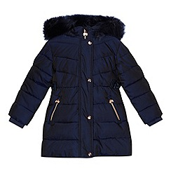 Baker by Ted Baker - Girls' navy padded shower resistant longline coat