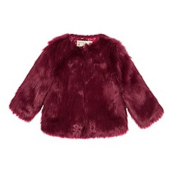 Baker by Ted Baker - Girls' wine red faux fur coat